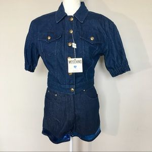 Moschino Italy Blue Jean Denim Jacket and Shorts